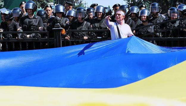 Działacz ukraińskiej opozycji podczas demonstracji /AFP