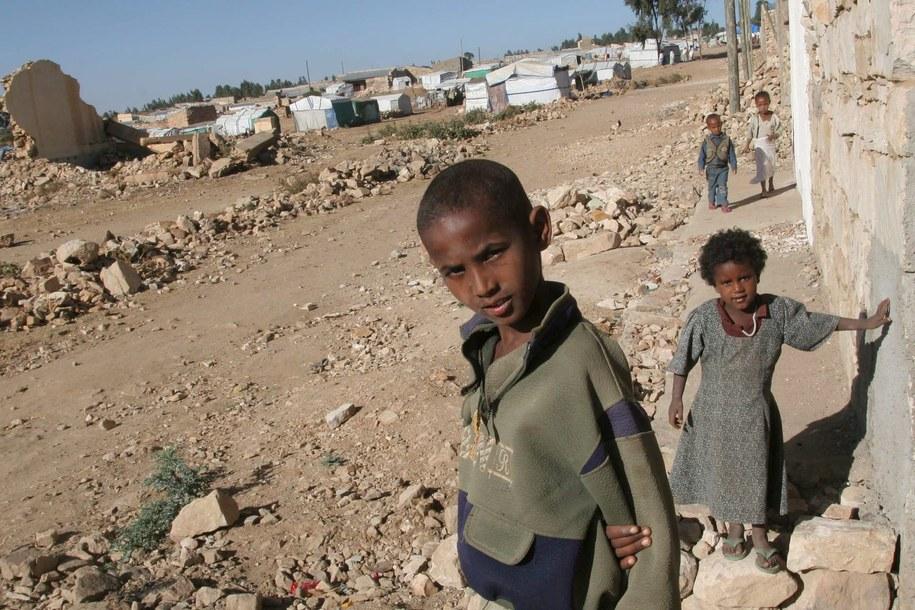 Dzieci w miejscowości Zalambessa, która została prawie całkowicie zniszczona w wyniku działań zbrojnych / STR   /PAP/EPA
