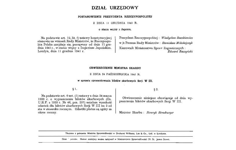 Dziennik Ustaw RP Nr 8, w którym opublikowano akt wypowiedzenia wojny Japonii /INTERIA.PL/materiały prasowe