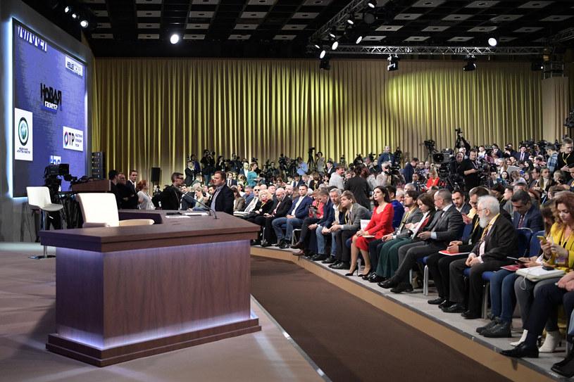 Dziennikarze oczekujący na doroczną konferencję Władimira Putina /Aleksey Nikolskyi  /East News