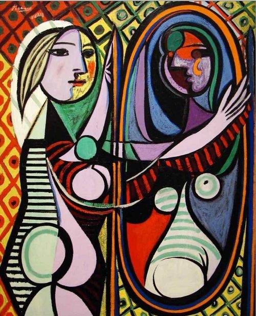 """""""Dziewczyna przed lustrem"""", Pablo Picasso, 1932 r. /źródło: www.pablopicasso.org/ /INTERIA.PL"""