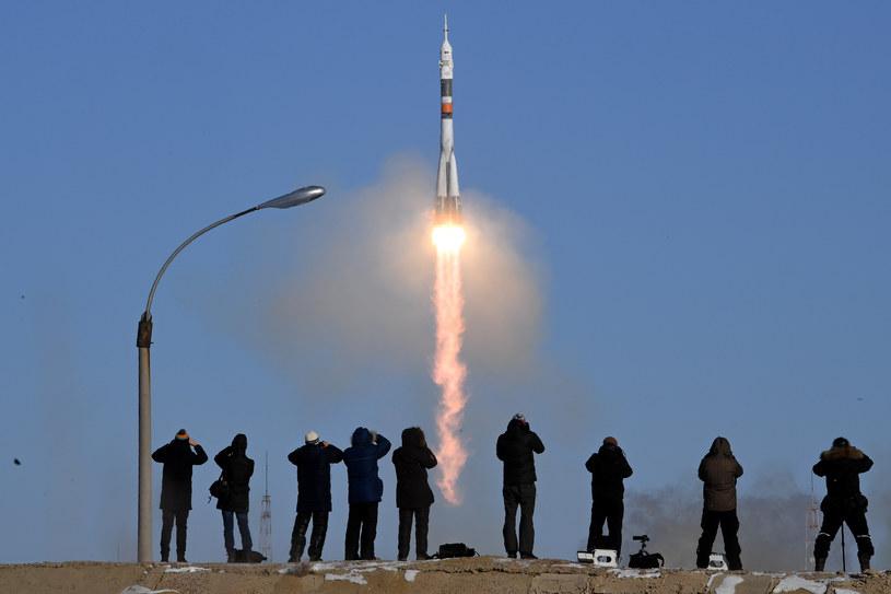 Dziewięć minut po starcia Sojuz bezpiecznie wszedł na orbitę /Kirill Kudryavtsev /AFP