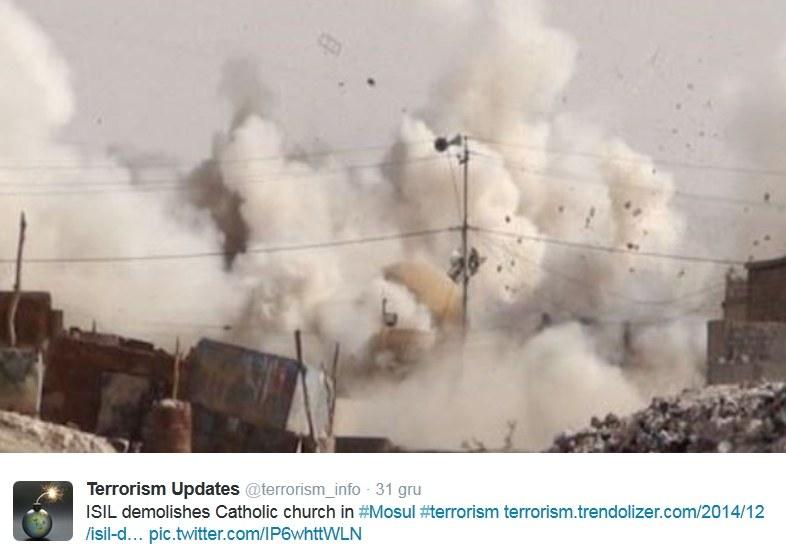 Dżihadyści burzą w Mosulu także świątynie katolickie /Twitter