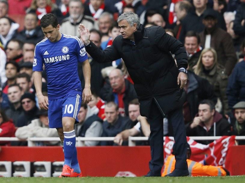 Eden Hazard i trener Chelsea Jose Mourinho /AFP