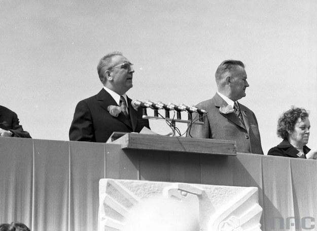 """Edward Gierek i Piotr Jaroszewicz: """"Polska ostatnich dni czerwca 1976 roku powiedziała polityce partii TAK"""" /Z archiwum Narodowego Archiwum Cyfrowego"""