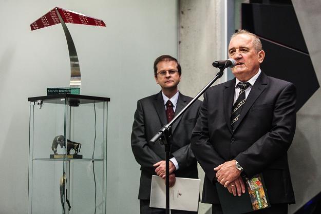 Edward Stankiewicz (P), wiceprezes Standrewu, podczas debiutu na NewConnect /PAP