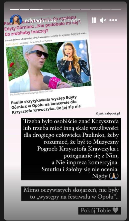 Edyta Górniak odpowiada na krytykę ze strony Paulli / Zdjęcie pochodzi z https://www.instagram.com/edytagorniak/?hl=pl /Instagram/edytagorniak /Instagram