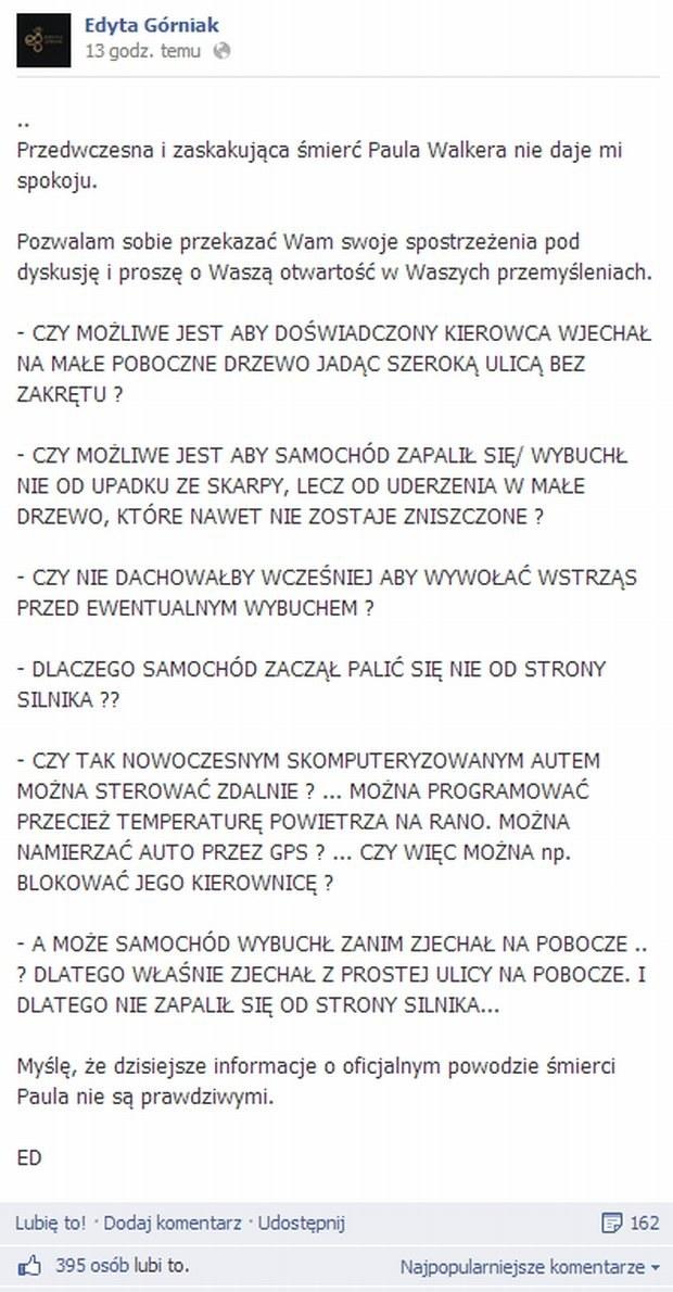 Edyta Górniak pod koniec 2013 roku na Facebooku /