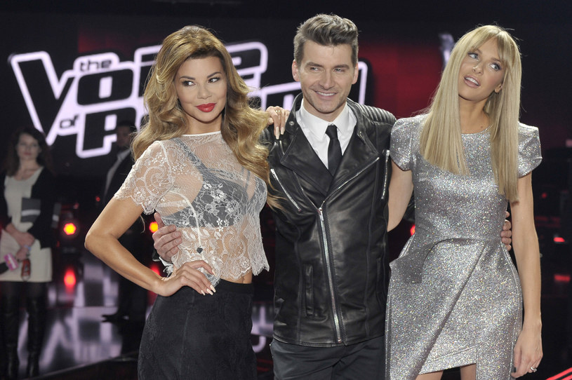 "Edyta Górniak, Tomasz Kammel i Magda Mielcarz na planie ""The Voice of Poland"" /Kurnikowski /AKPA"