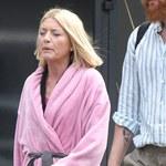 Edyta Olszówka przechadza się po mieście w różowym szlafroku. Kim jest tajemniczy mężczyzna obok niej?