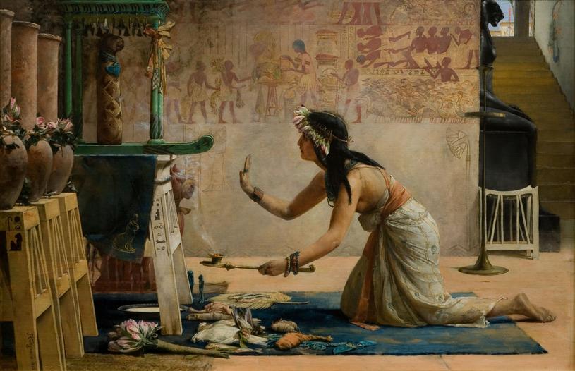 Egipska kapłanka oddająca cześć bogu-kotu /Domena publiczna /INTERIA.PL/materiały prasowe