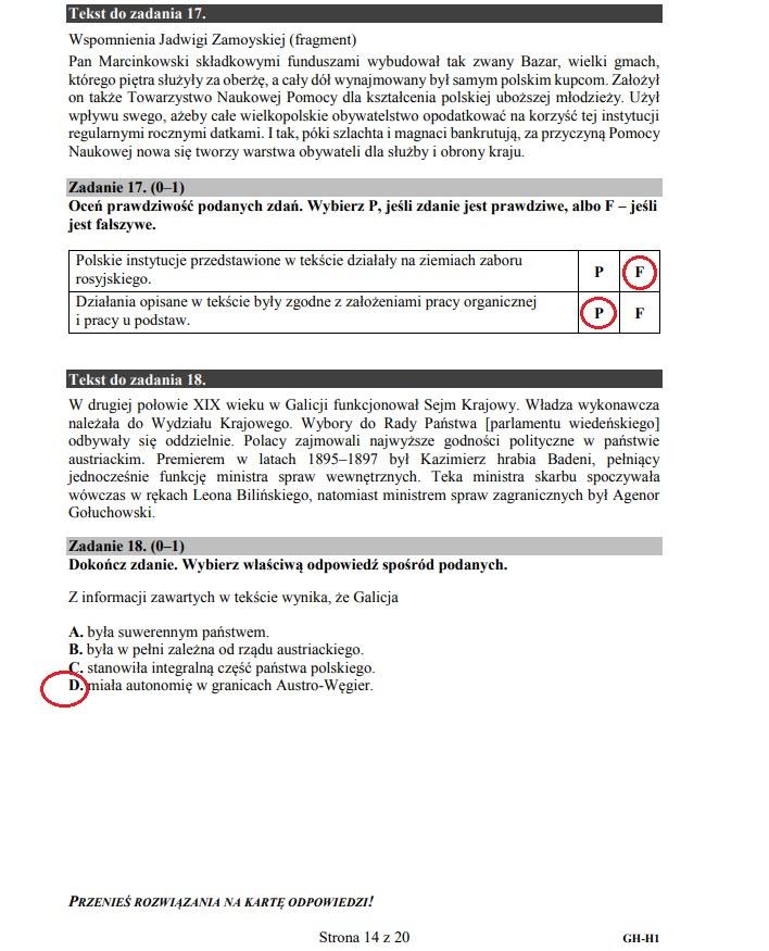 Egzamin gimnazjalna 2019 z historii i WOS /INTERIA.PL