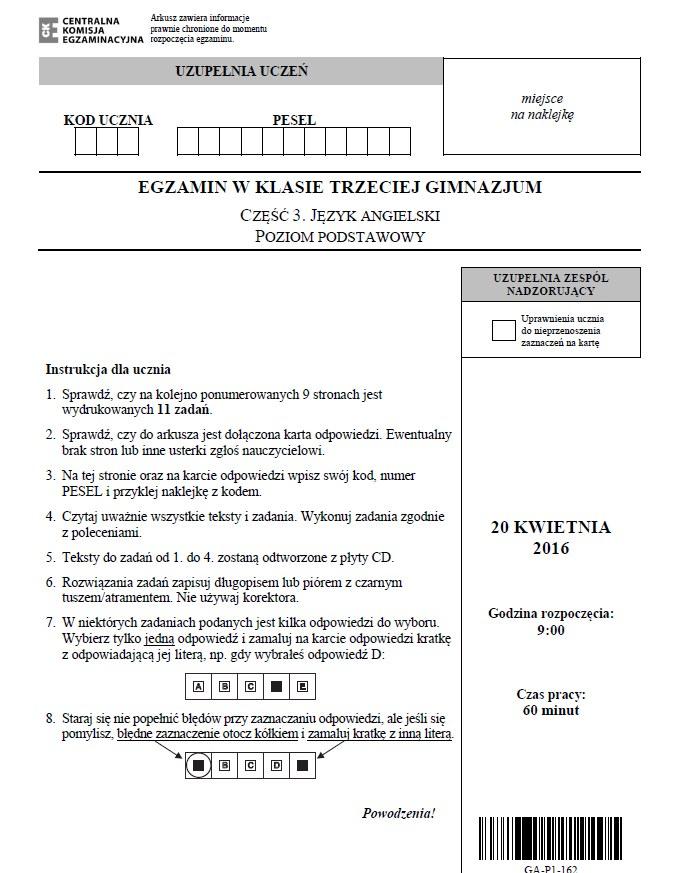 Egzamin gimnazjalny 2016 - język angielski, str. 1 /CKE /