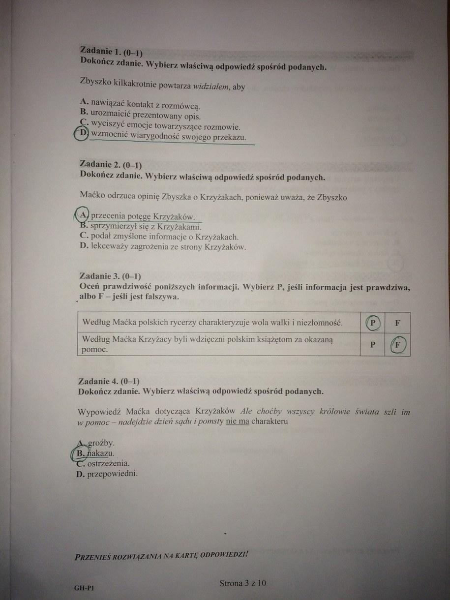 odpowiedzi egzamin gimnazjalny matematyka