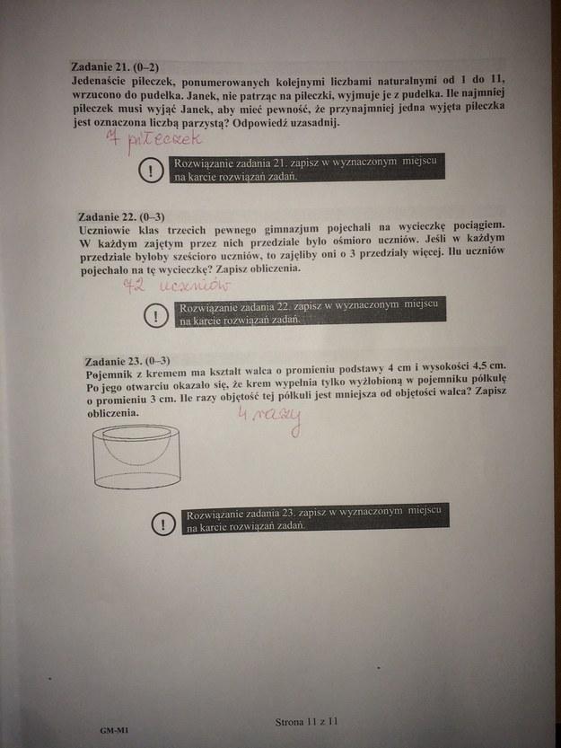 Egzamin gimnazjalny 2016. Matematyka - propozycje odpowiedzi /RMF FM