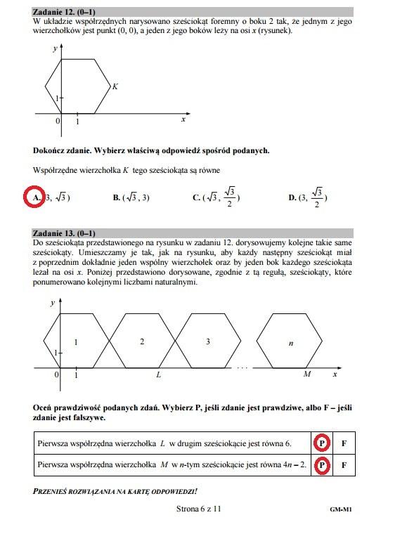 Egzamin gimnazjalny 2016 – matematyka, Zadania 12-13 /