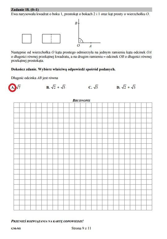 Egzamin gimnazjalny 2016 – matematyka, Zadanie 18 /