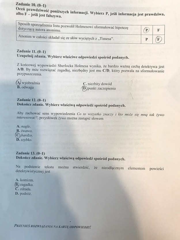 Egzamin gimnazjalny 2017 - przykładowe rozwiązania z języka polskiego. /RMF FM