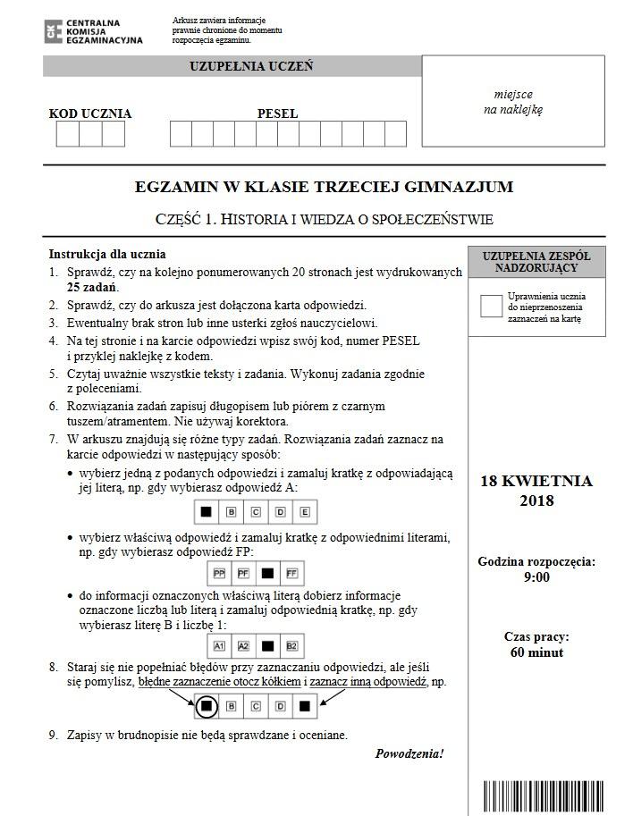 Egzamin gimnazjalny 2018. Historia i WOS / źródło: CKE /INTERIA.PL