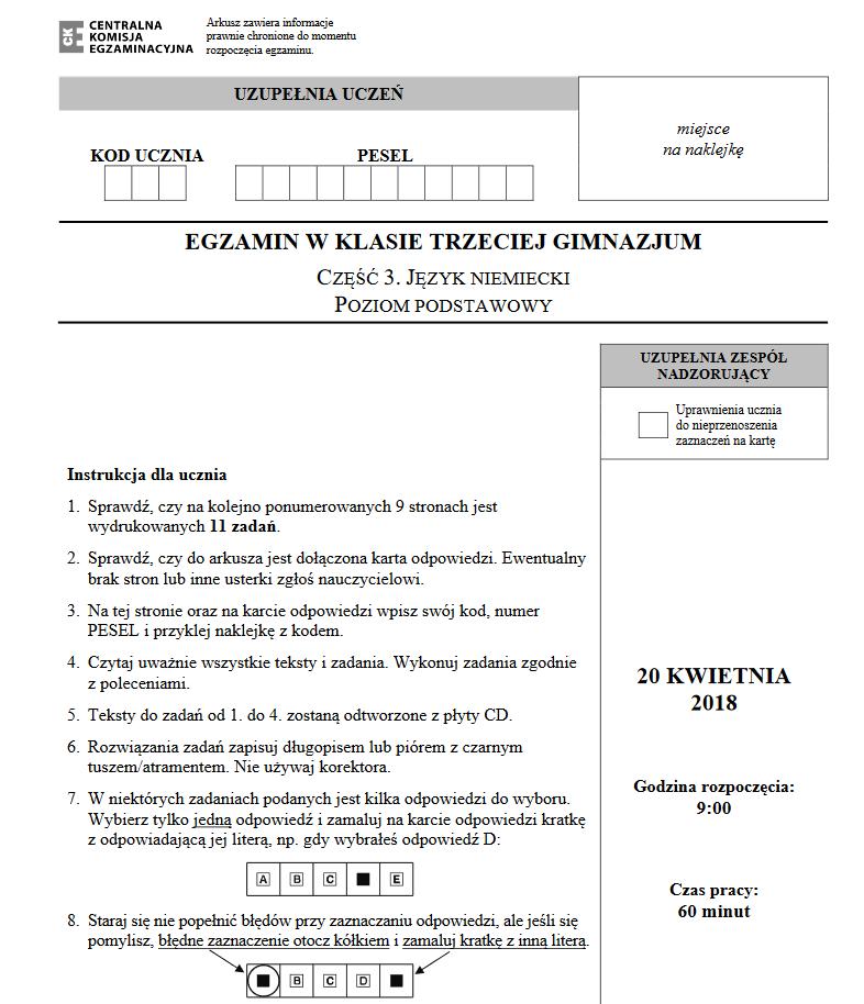 Egzamin gimnazjalny 2018. Język niemiecki; źródło CKE /
