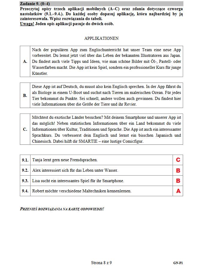 Egzamin gimnazjalny 2018. Język niemiecki /INTERIA.PL
