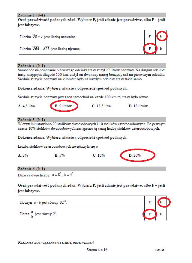 cke egzamin gimnazjalny 2021 matematyka odpowiedzi