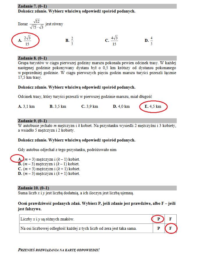 egzamin gimnazjalny 2021 matematyka arkusze i odpowiedzi