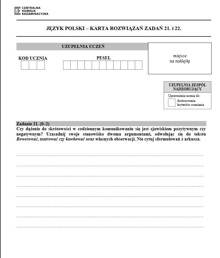 Egzamin gimnazjalny 2018. Polski ; źródło: CKE /INTERIA.PL