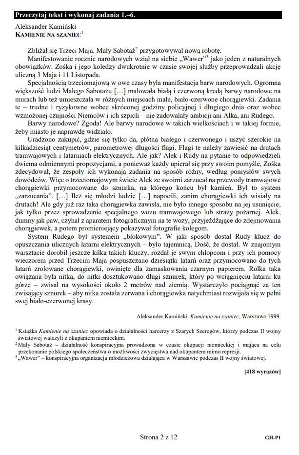 Egzamin gimnazjalny 2019 - język polski /