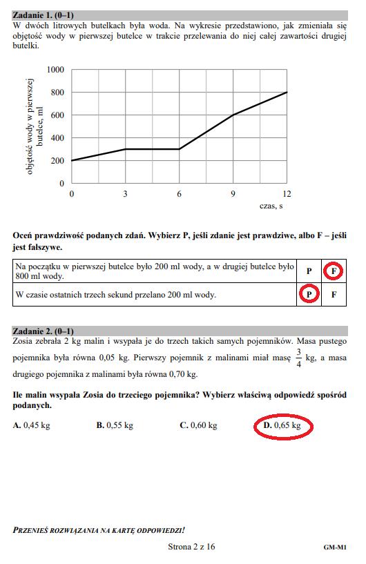 egzaminy gimnazjalne matematyka odpowiedzi