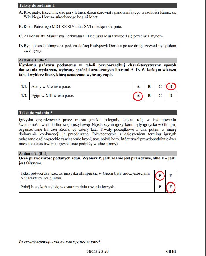 Egzamin gimnazjalny 2019 z historii i wiedzy o społeczeństwie /INTERIA.PL