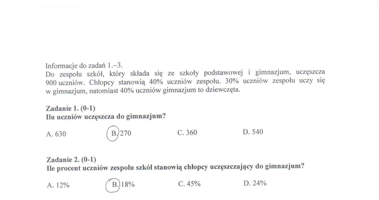 Egzamin gimnazjalny - przykładowe rozwiązania części matematyczno-przyrodniczej