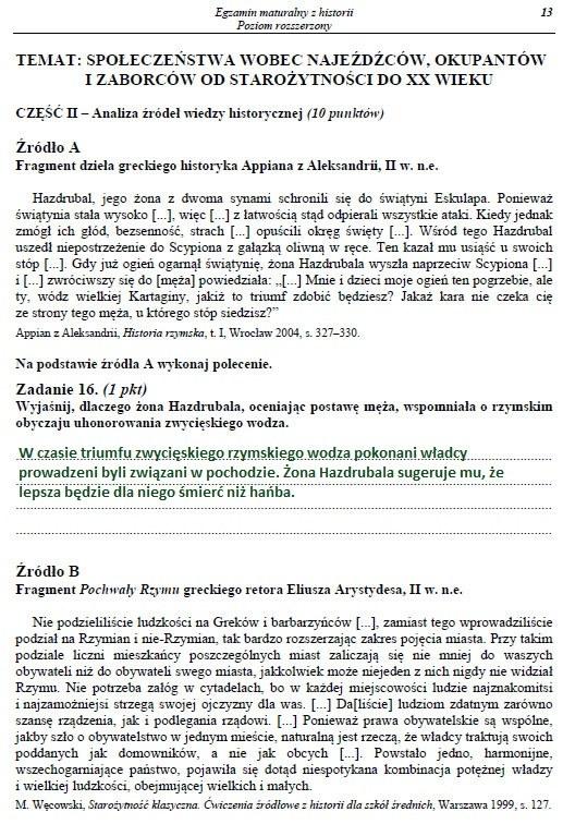 Egzamin maturalny z historii - poziom rozszerzony. Arkusz i rozwiązania /INTERIA.PL