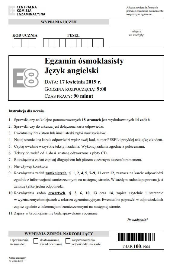 Egzamin ósmoklasisty 2019 - język angielski, str. 1 /CKE