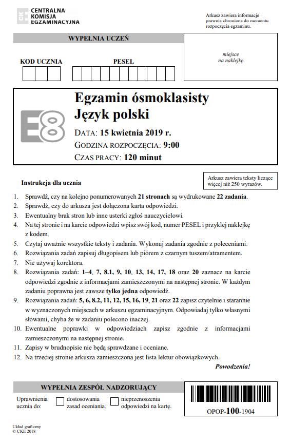 Egzamin ósmoklasisty 2019 - język polski, str. 1 /CKE