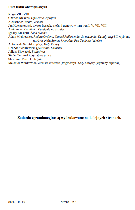Egzamin ósmoklasisty 2019 - język polski, str. 3 /CKE
