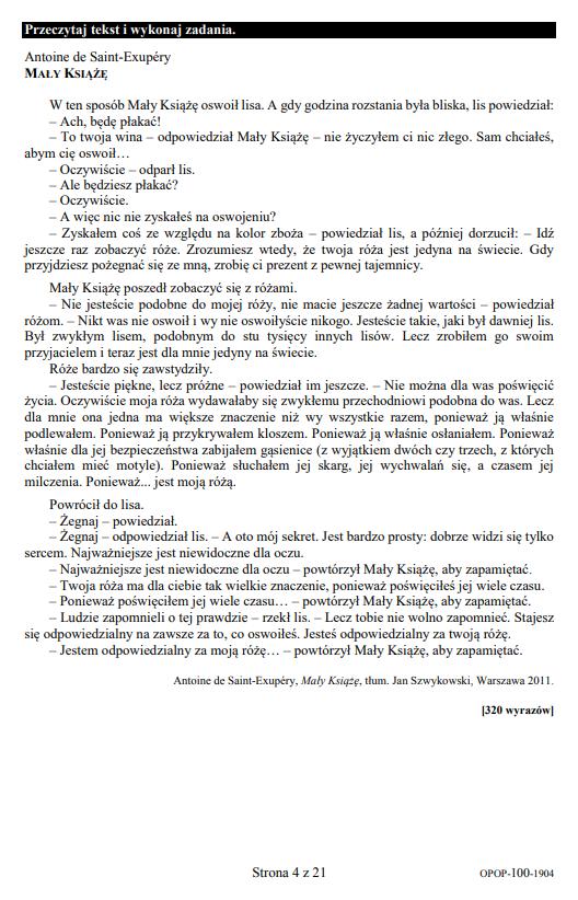 Egzamin ósmoklasisty 2019 - język polski, str. 4 /CKE