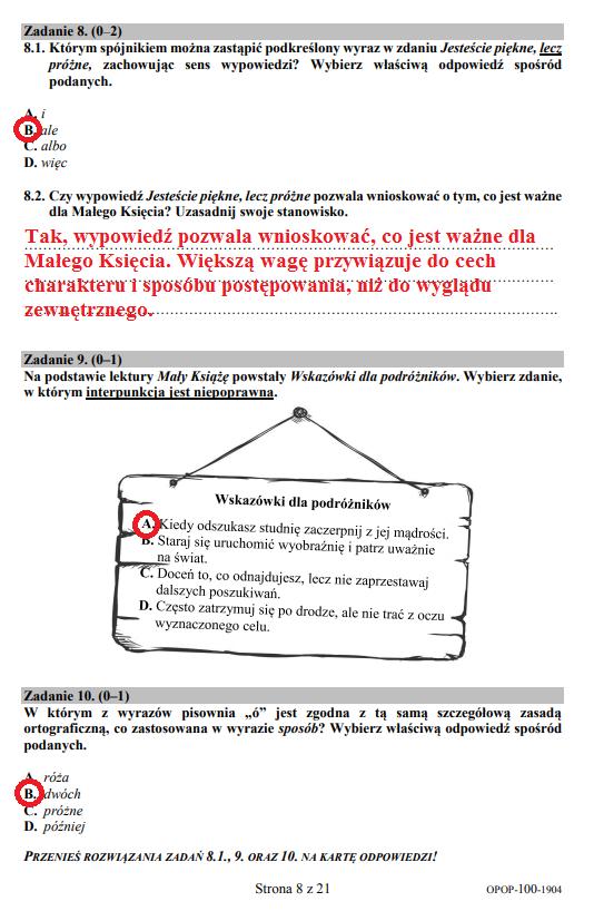 Egzamin ósmoklasisty 2019 - język polski, str. 8 /INTERIA.PL