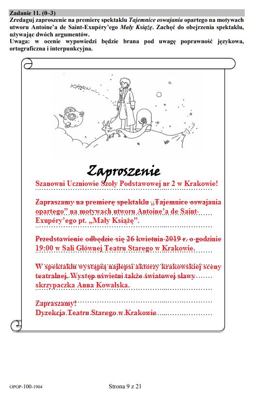 Egzamin ósmoklasisty 2019 - język polski, str. 9 /INTERIA.PL