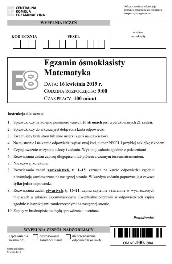 Egzamin ósmoklasisty 2019 - matematyka, str. 1 /CKE
