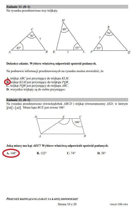 Egzamin ósmoklasisty 2019 - matematyka, str. 10 /INTERIA.PL