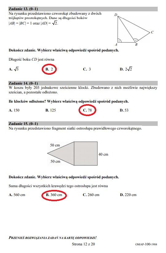 Egzamin ósmoklasisty 2019 - matematyka, str. 12 /INTERIA.PL