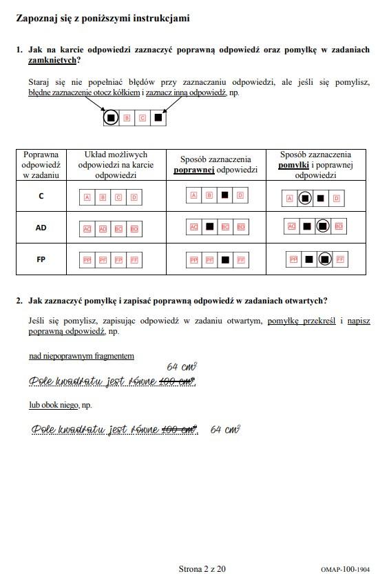 Egzamin ósmoklasisty 2019 - matematyka, str. 2 /CKE