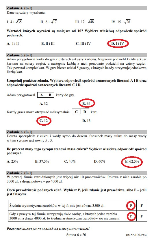 egzamin ósmoklasisty matematyka karta odpowiedzi