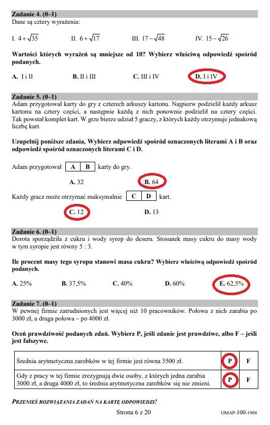 Egzamin ósmoklasisty 2019 - matematyka, str. 6 /INTERIA.PL