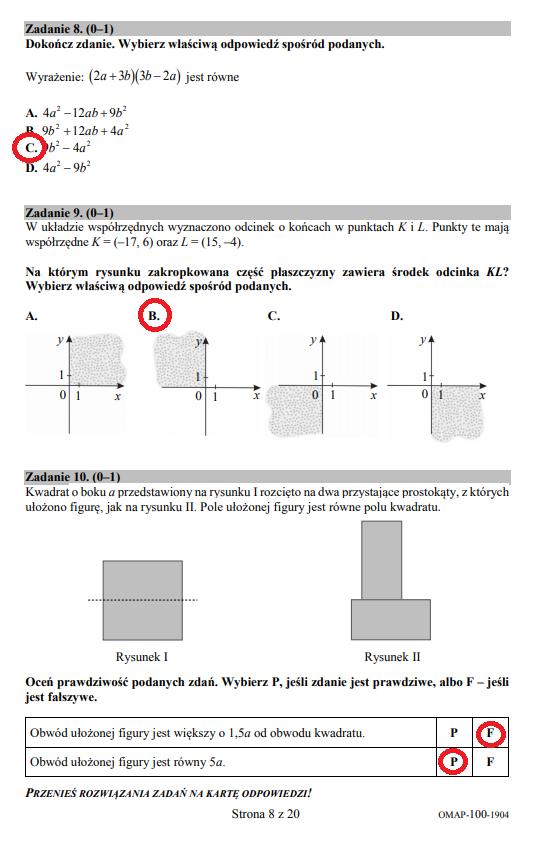 Egzamin ósmoklasisty 2019 - matematyka, str. 8 /INTERIA.PL