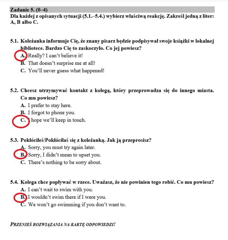 Egzamin ósmoklasisty 2020: Język angielski. ARKUSZ CKE I ODPOWIEDZI /INTERIA.PL