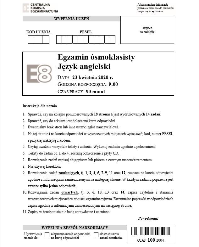 Egzamin ósmoklasisty 2020: Język angielski. ARKUSZ CKE /CKE