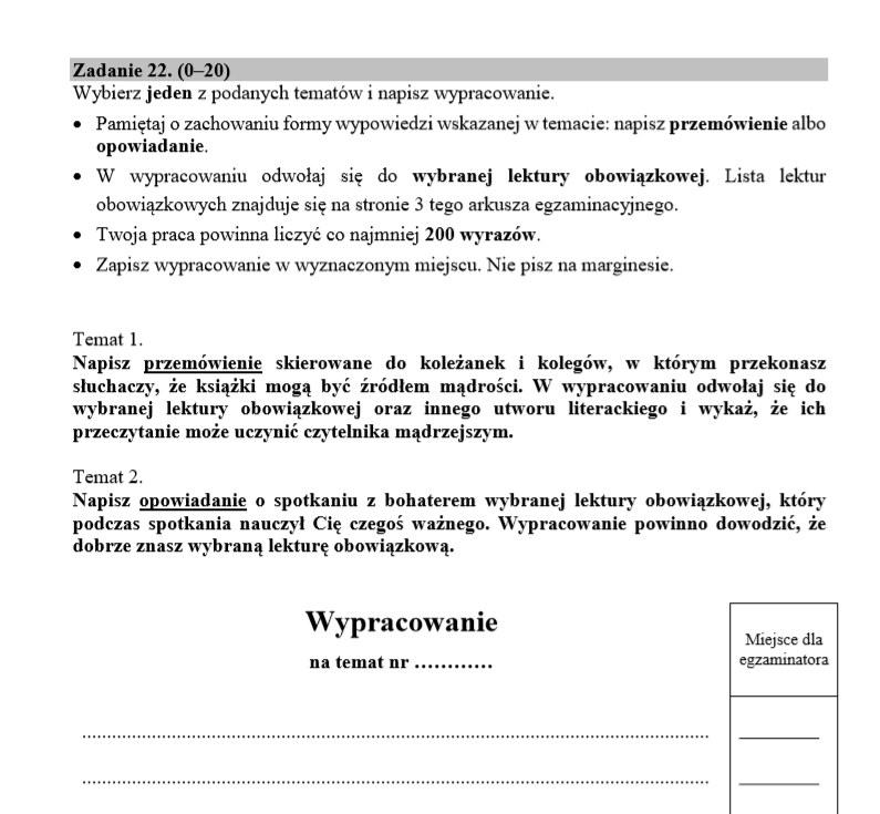 EGZAMIN ÓSMOKLASISTY 2020: Język polski: tematy /CKE