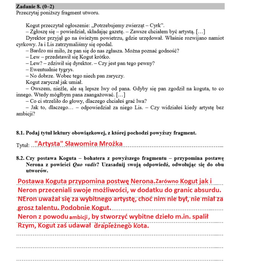 Egzamin ósmoklasisty 2020 /INTERIA.PL